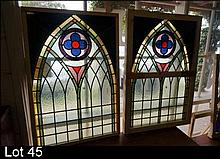 Pr leadlight h/painted coloured glass arched