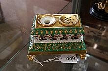 Early C19th French h/painted porcelain 12 cm wide inkstand