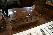 Good quality Vic walnut 35 cm wide writing box with original inkwell