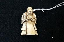 Antique Japanese ivory 5 cm netsuke of man with bowl, signed