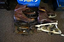 Assorted prs early C20th ice skates