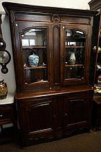 Large French oak 4 door glazed top 140 cm wide kitchen dresser
