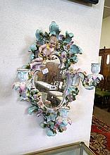 C19th German porcelain floral applied Girondole mirror