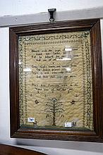 Georgian needlework sampler with tree & Children with animals by Mary Ann P