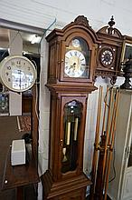French carved oak 3 weight longcase clock