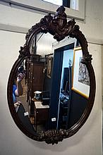 Vic mah oval ornately carved wall mirror by G Booth Melbourne