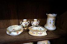 Edw C/Devon blush ivory vases, trinket & bowl