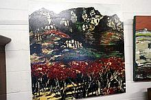 Large oil on canvas of Grampians after bushfire