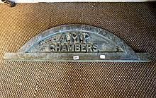 Mid C20th brass entrance way plaque 'AMP Chambers'