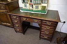 Edw walnut 9 drawer pedestal desk