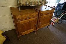 Pr French oak bedside tables