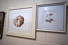2 watercolours, Pumpkin signed Marina Davies &