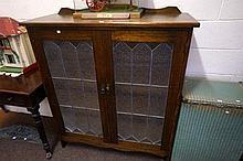 1920's leadlight 2 door cabinet