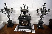 Vic black slate & brass black face 3pc clock set