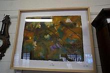 Mixed media watercolour/acrylic landscape, Broken
