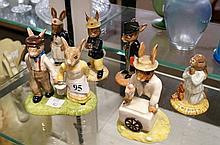 6 R/Doulton Bunnykins figures