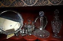 Assorted EP ware, cruet set & 2 decanters