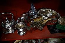 Assorted Vic & later EP ware & Butterfly inset 3 pc dressing table set