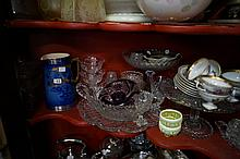 Assorted Vic glassware, crystal inc Stuart & china inc C/Devon blue & gilt jug