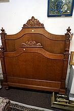 Antique French oak double bed & rails