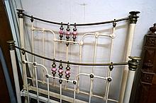 Vic cast iron double bed & rails with porcelain knobs
