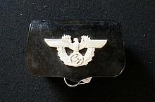 WWII German Reich leather ammunition pouch mounted with spread eagle & swastika badge in little used condition