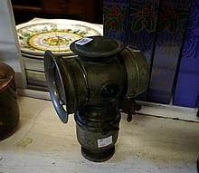 Antique nickle plated bike carbide lamp