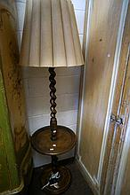French oak barley twist standard lamp with centre table