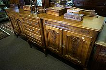 Large French carved oak low sideboard