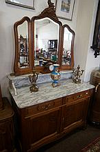 French carved oak 185 cm wide marble top mirror back washstand