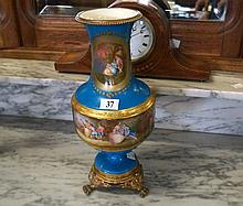 C19th Sevres style h/painted & ormolu mounted landscape design 30 cm vase