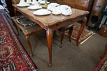French cabriole leg oak parquetry top draw leaf table, leaves not parquetry