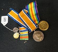 WWI duo medal group & miniatures awarded to Pte A C Sayward Machine gun cor