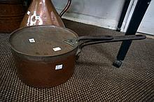Large Vic copper saucepan with lid