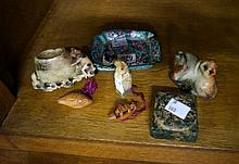 Chinese marble lion seal, 2 mini carved netsukes soapstone figures etc
