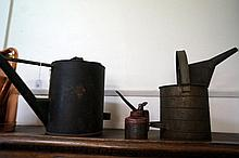 2 vintage oil cans & oil pump