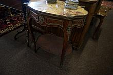 French style brass mounted marble top occassional table with drawer