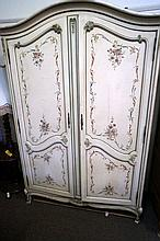 French painted floral design 2 door cupboard
