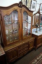 French carved oak 135 cm wide x 195 high display cabinet on 3 drawer 2 cupb