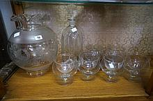 Set of 6 Prawn cocktail glasses, lamp shade & decanter