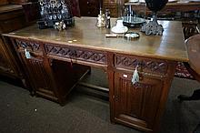 C19th French Gothic carved oak pedestal 145 cm x 74 cm desk
