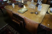 Large early C20th French parquetry top oak pedestal partners desk 102 cms x