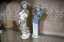 2 Noa figures, boy with walking stick & boy with puppy