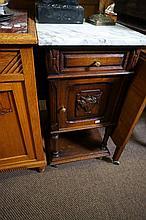 French oak marble top bedside cabinet