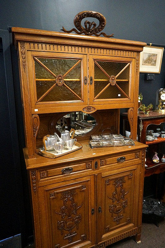 lot 99 antique french carved oak sideboard 115 cm wide x 230 high. Black Bedroom Furniture Sets. Home Design Ideas
