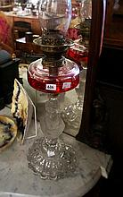 Vic cut glass kero lamp with unusual base of a bust of a classical lady