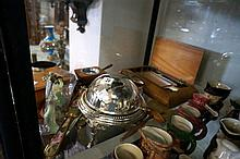 Assorted dressing table items, EP roll top butter dish, etc