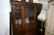 1920's oak 3 door 166cm wide bookcase with bevilled glass doors