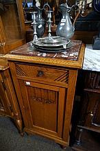 French oak amrble top bedside cabinet