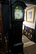Early C19th black laquered 30 hour long case clock with painted dial depict